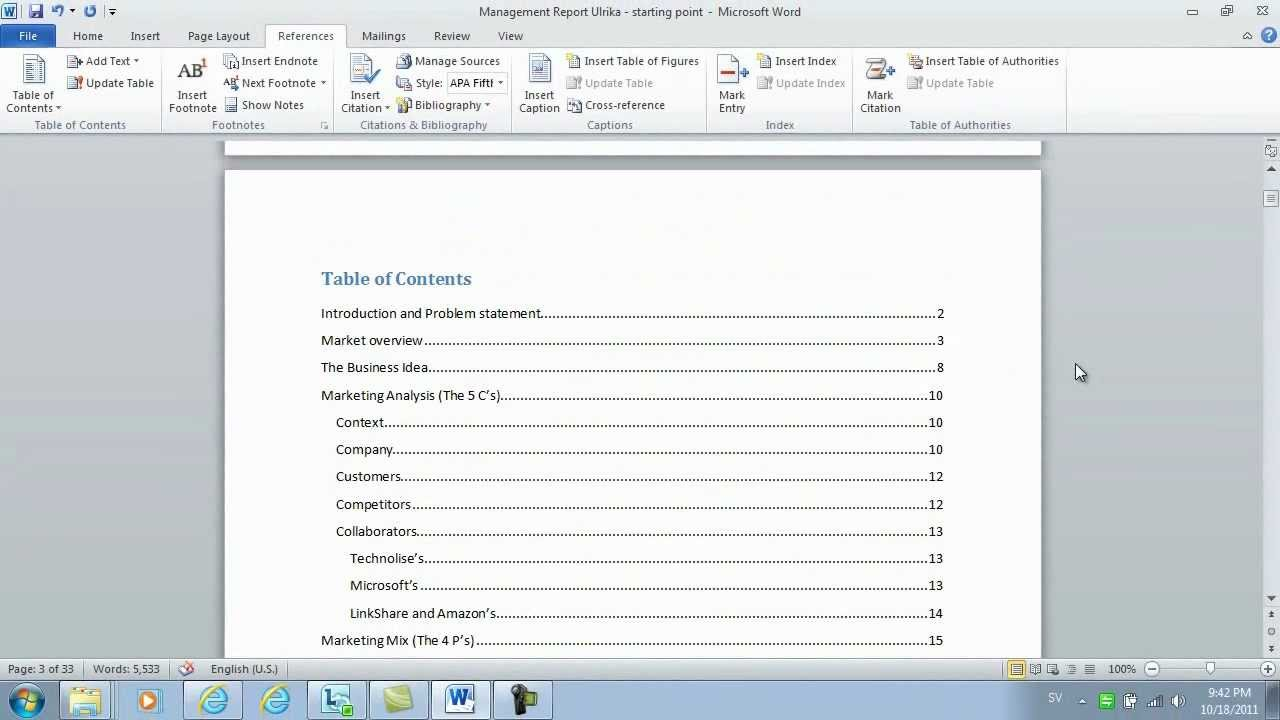 How to insert page numbers and a table of contents using for Table of contents template word 2010