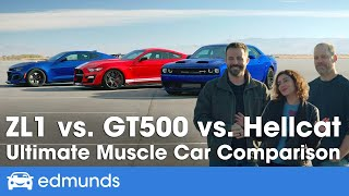 Ford Mustang Shelby GT500 vs. Dodge Challenger Hellcat vs. Chevy Camaro ZL1 — Muscle Car Comparison