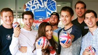 DUDE PERFECT - BASKETBALL HOTEL DROP SHOT w/ Missglamorazzi, and Luke Conard!