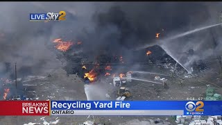 Firefighters Battling Recycling Yard Fire In Ontario
