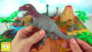 ★ African Wild Animals for kids Learn Animals with Tayo Bus Tub of Dinosaur Toys