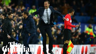Duncan Ferguson reacts after beating Chelsea in first game in charge of Everton