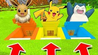 Minecraft PE : DO NOT CHOOSE THE WRONG SECRET BASE! (Eevee, Pikachu & Snorlax)