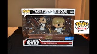STAR WARS TRASH COMPACTOR ESCAPE Funko Pop MOVIE MOMENTS Walmart Exclusive! Leia & Luke Skywalker