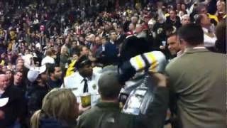 Crowd (fan) fight in stands at Boston Bruins - Montreal Canadiens Hockey Game November 27 2011 in HD