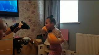 My 7 year old daughter boxing. Next Katie taylor