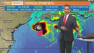 Sunday 10 am Tropical Update: Beta struggles, Louisiana could see heavy rain