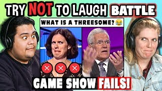Try to Watch This Without Laughing or Grinning Battle: GAME SHOW FAILS | FBE Staff Reacts - YouTube