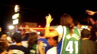 People partying outside the Granada after Mavs win Championship