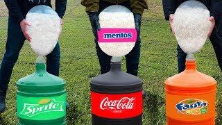 Experiment: Coca Cola, Fanta, Sprite VS Huge Baloons with Mentos