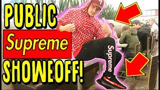 WEARING AND FLEXING FAKE SUPREME AT THE MALL!!! .. EXPOSED AND ALMOST BEAT UP