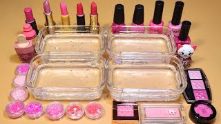 *Pink Collection* Mixing shadow Section,glitter Section, Lip Section, Nail polish Section into Slime