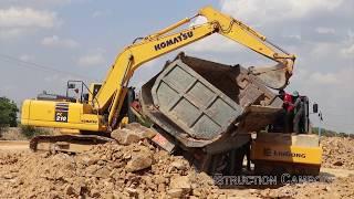 ឡានបែនក្រឡាប់, ឡានដឹកដីក្រឡាប់ - Dump Truck Fail Accident Recovery By Excavator, Roller, Bulldozer