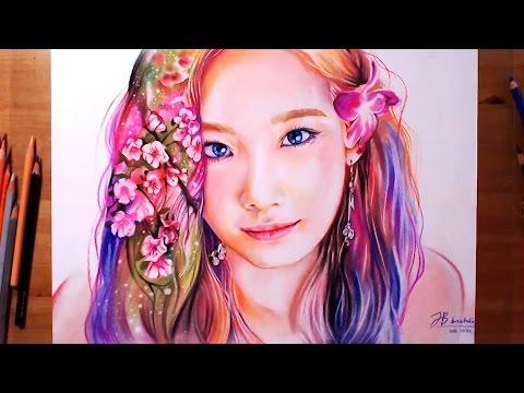 Tae Yeon(SNSD) with spring 소녀시대 태연 Pastel Drawing   drawholic