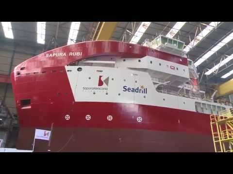 Naming and launch of pipelaying vessel SAPURA RUBI
