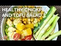 Healthy Chickpea and Tofu Salad with homemade dressing (vegan and gluten free) Recipe by Manjula