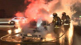 91 Freeway Car Fire / Riverside   RAW FOOTAGE