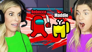 Best Friends Play Among US For the First Time! 900 Imposter IQ Plays! Rebecca Maddie Challenges