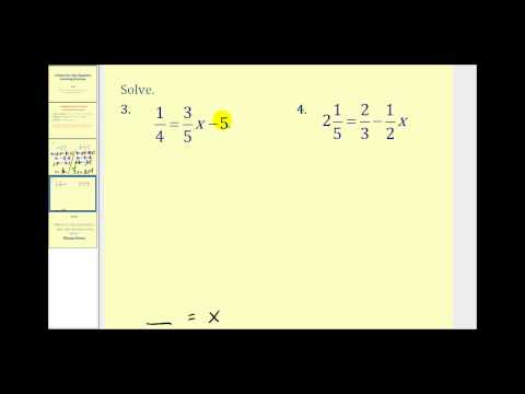 Multi-Step Equations With Fractions CK-12 Foundation