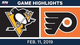 NHL Highlights | Penguins vs. Flyers - Feb 11, 2019
