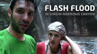 Flash Flood in Virgin Narrows Canyon // Inundación en Zion NP, Utah