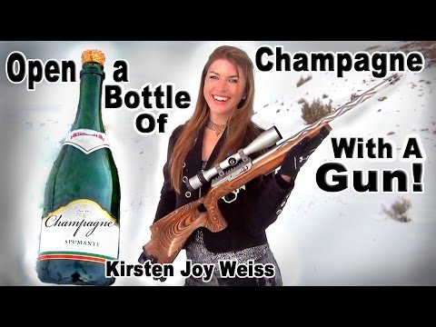 How To Open Up a Champagne Bottle With a Gun Instead of a Knife - Trick Shots