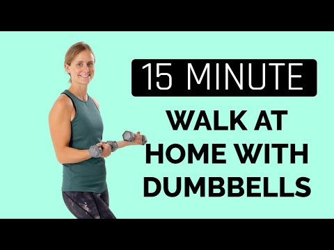 15 Minute Walk At Home with Dumbbells- Workout In A Mirror