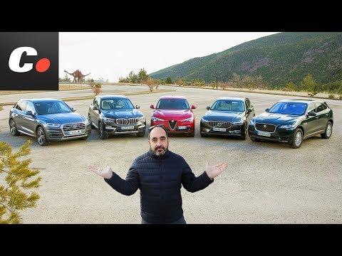 BMW X3, Volvo XC60, Alfa Romeo Stelvio, Audi Q5, Jaguar F-Pace | Prueba SUV 2018 | coches.net