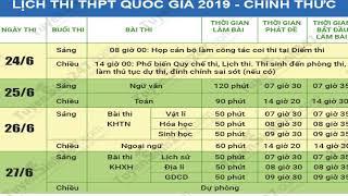 Công bố lịch thi THPT quốc gia năm 2019 mới nhất