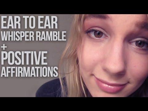 [BINAURAL ASMR] Ear to Ear Whisper Ramble + Positive Affirmations (w/ hair playing)
