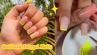 COLORFUL OUTLINE POLYGEL NAILS | Nail Tutorial For Beginners