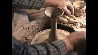 Brad Sondahl throws and assembles pottery goblets