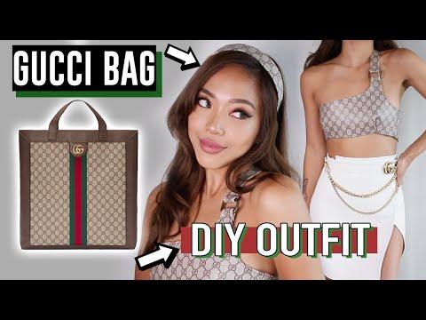 DIY GUCCI BAG into CLOTHES Tutorial! (it's fake chill lol)