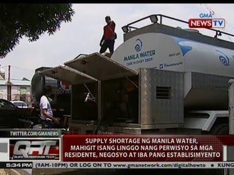 QRT: Supply shortage ng Manila Water, mahigit isang linggo nang perwisyo sa marami