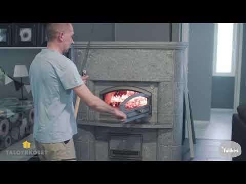 Tässä kodissa leivinuunia käytetään lämmittämään vettä myös lattialämmitystä varten, sekä käyttövettä. Asukas itse kertoo kokemuksistaan ja saamistaan hyödyistä.