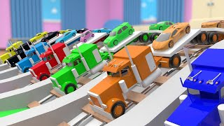 Parking Trucks Colors ! Learning Colors for Kids Sports Cars Transporter Trucks Color Water Track