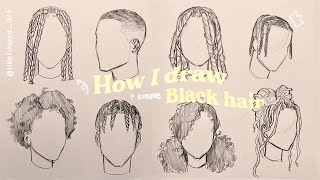✏️How I draw black hairstyles (simple) 🌱