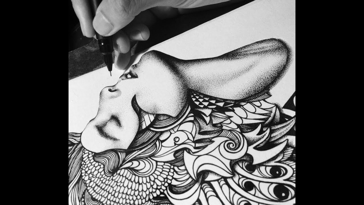 Time Lapse Drawing : Dot-Drawing Technique