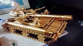 QUA TANG   Mô hình xe tăng bằng vỏ đạn tinh xảo   Qùa tặng độc đáo