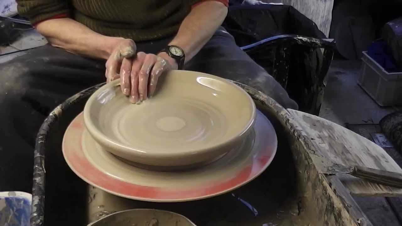 Throwing Trimming Amp Decorating A Large Pottery Plate On The Wheel Youtube
