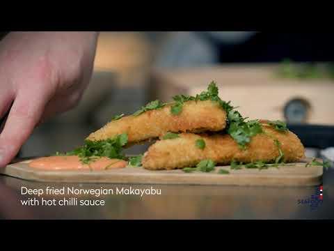 Deep fried Norwegian Makayabu with hot chilli sauce