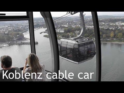 GERMANY: Koblenz cable car over Rhine / Deutsches Eck / Ehrenbreitstein Fortress [HD]