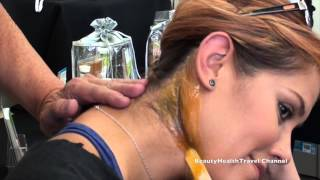 Waxing the back of the neck, face, hairline hard wax10