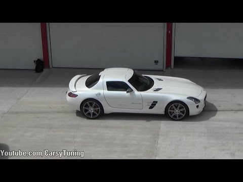 Mercedes Benz SLS AMG Decatted Exhaust Loud Start Hard Accelerations