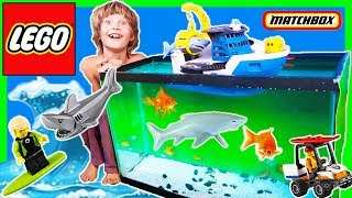 Legos and Shark Ship Rescue REAL FiSH from GiANT SHARK!