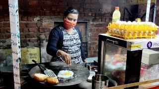 Indian Lady Selling Big Egg Burger   Indian Street Food