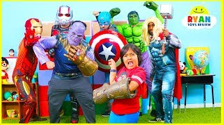Ryan vs Thanos Marvel Endgame Superheroes Hide and Seek!!!