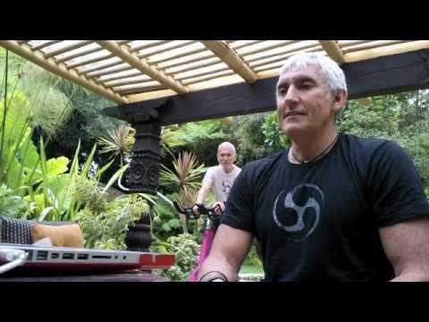 "Creator of SPINNING® Fitness Legend Johnny G speaks during ""Sweat for a Vet"" KRANKING® marathon"