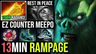 WTF 13Min Radiance + Rampage Necrophos - Super Tanky Ez Counter Meepo Mid 24Kills EPIC JUNGLE Dota 2