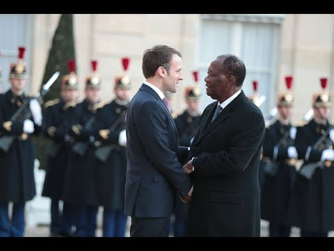 Audience du Président Ouattara avec son homologue français Emmanuel Macron à  l'Élysée
